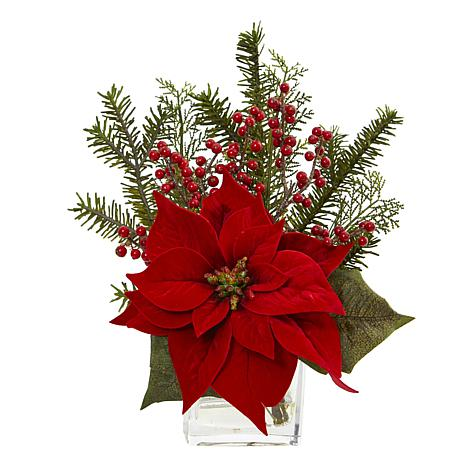 Nearly Natural Poinsettia Pine & Berries Artificial Arrangement w/Vase