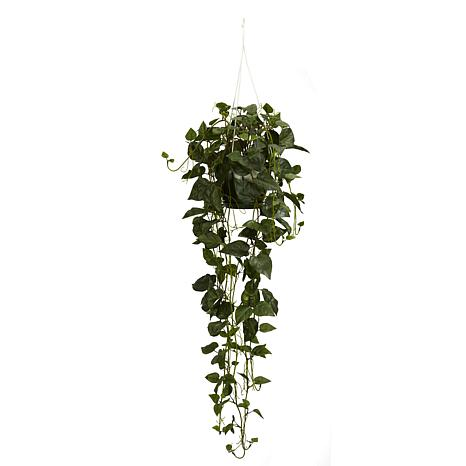 Nearly Natural Silk Philodendron Hanging Basket Arrangement