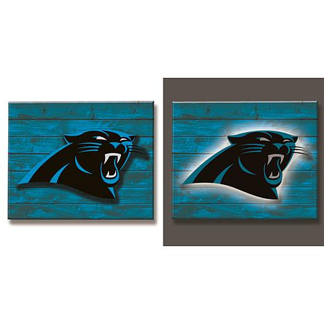 NFL Backlit Wood Plank Wall Sign - Panthers