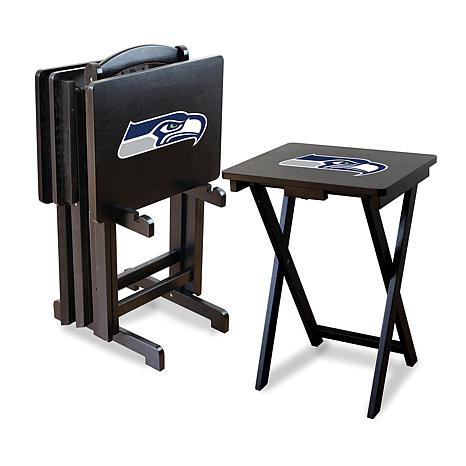 Nfl Team Logo Set Of 4 Tv Trays With Stand Seahawks