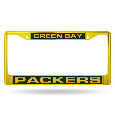 NFL Yellow Laser-Cut Chrome License Plate Frame -  Packers