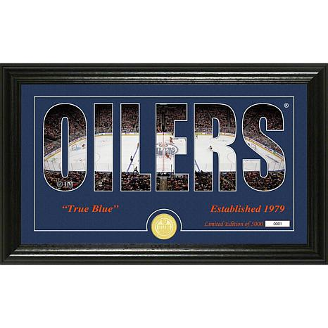 NHL Silhouette Panoramic Bronze Coin Photo Mint - Edmonton Oilers