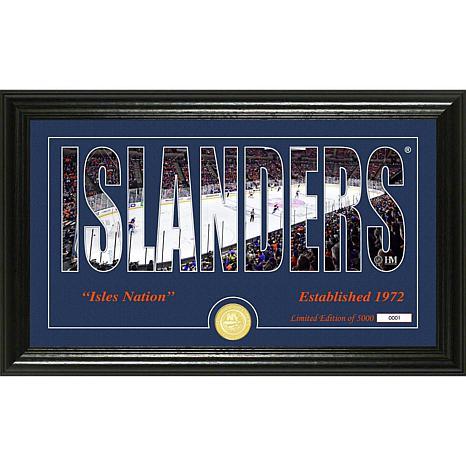 NHL Silhouette Panoramic Bronze Coin Photo Mint - New York Islanders