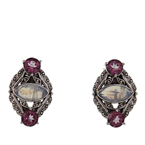Nicky Butler 2.20ctw Moonstone and Pink Topaz Sterling Silver Earrings