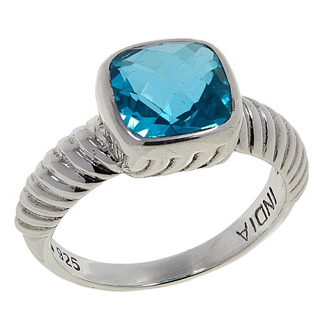 Nicky Butler 2.30ctw Aqua Quartz Triplet Cushion Solitaire Ribbed Ring