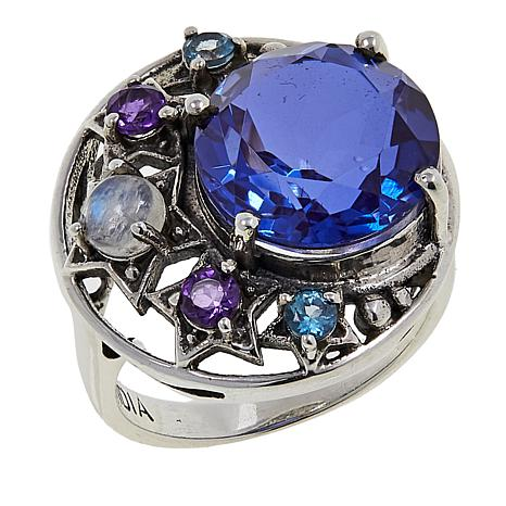 Nicky Butler 4.80ctw African Amethyst and Multigemstone Star Ring