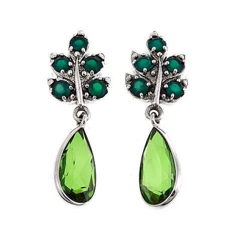 Nicky Butler 6.50ctw Green Chalcedony and Peri Quartz Leaf Earrings