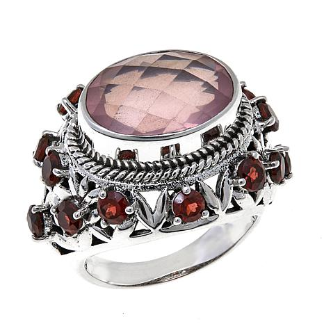 Nicky Butler 6.66ctw Rose Quartz and Garnet Ring