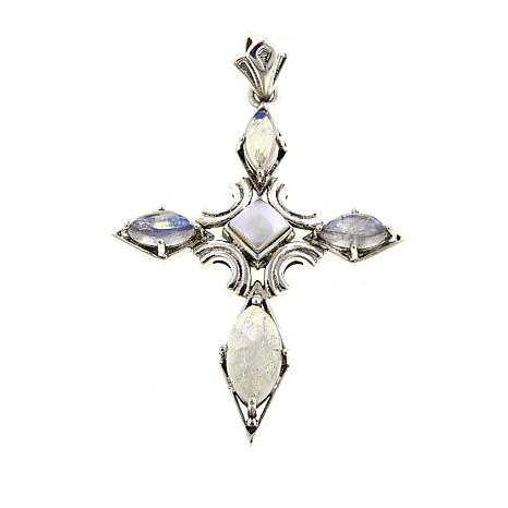 Nicky Butler Cultured Pearl and Moonstone Cross Pendant
