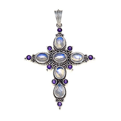 Nicky Butler Moonstone and Amethyst Cross Pendant