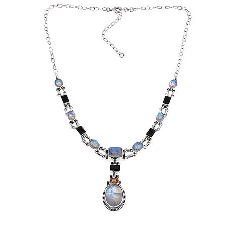 "Nicky Butler Rainbow Moonstone and Multigemstone 17"" Drop Necklace"