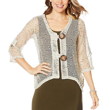 Nina Leonard Coconut Button Novelty Knit Bolero