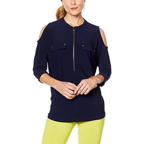 Nina Leonard Cold-Shoulder Tunic