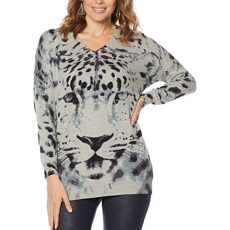 Nina Leonard Long-Sleeve Animal Print Sweater Tunic