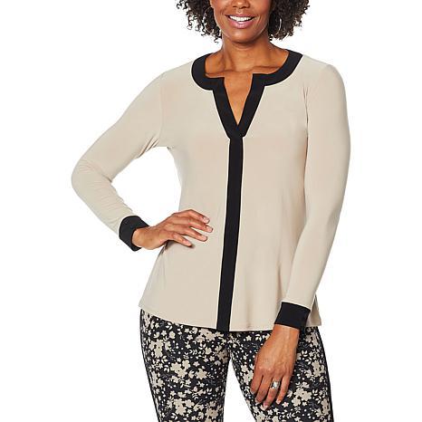 Nina Leonard Long Sleeve Colorblock Top