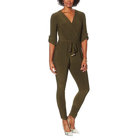 Nina Leonard Miracle Matte Jersey 3/4 Tab-Sleeve Jumpsuit