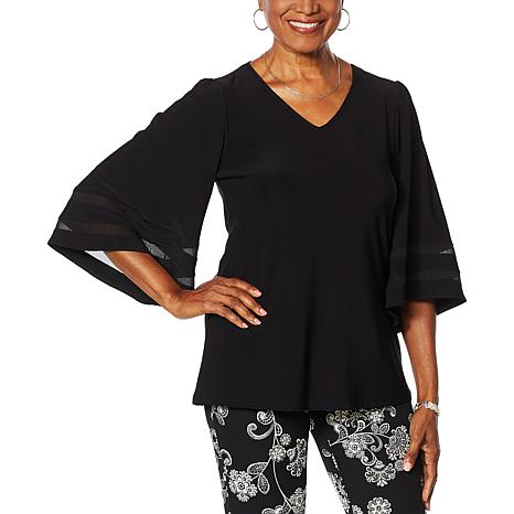 Nina Leonard Miracle Matte Jersey Bell-Sleeve Top