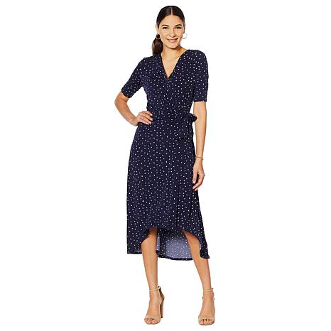 Nina Leonard Printed High-Low Faux Wrap Dress