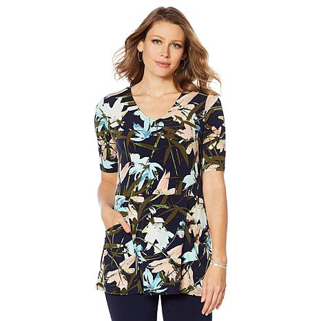 Nina Leonard Printed Miracle Matte Jersey Tunic with Pockets