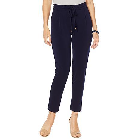 Nina Leonard Stretch Crepe Smocked-Waist Ankle Pant