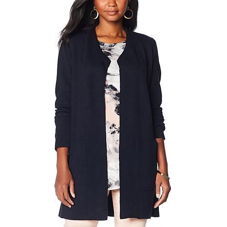 Nina Leonard Sweater Knit Coatigan with Pockets