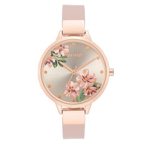Nine West Women's Pink Floral Rosetone Watch