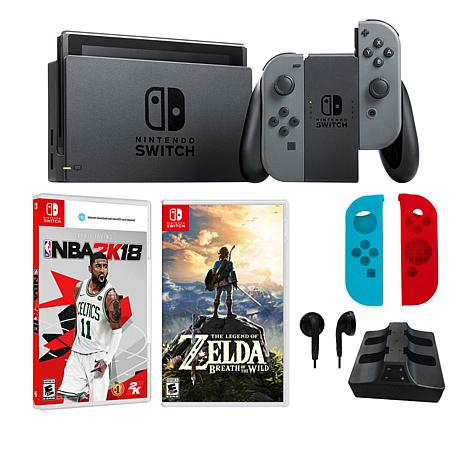 Nintendo Gray Switch Bundle With Legend Of Zelda Nba 2k18 Games