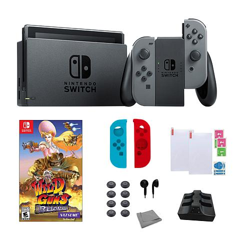 "Nintendo Switch Gray Bundle w/Accessories & ""Wild Guns Reloaded"" Game"