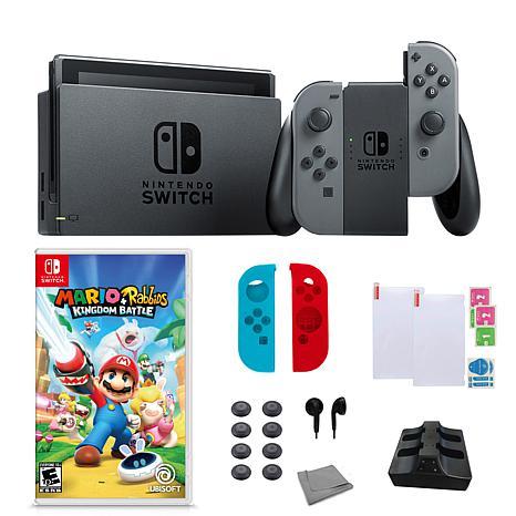 "Nintendo  Switch Gray Bundle with ""Mario + Rabbids Kingdom Battle"""