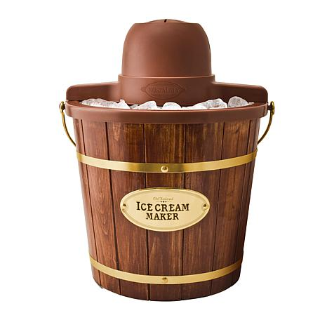 Nostalgia 4 qt. Wooden Bucket Electric Ice Cream Maker