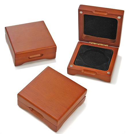 Oak Display Boxes for Single Round Coins - Set of 3