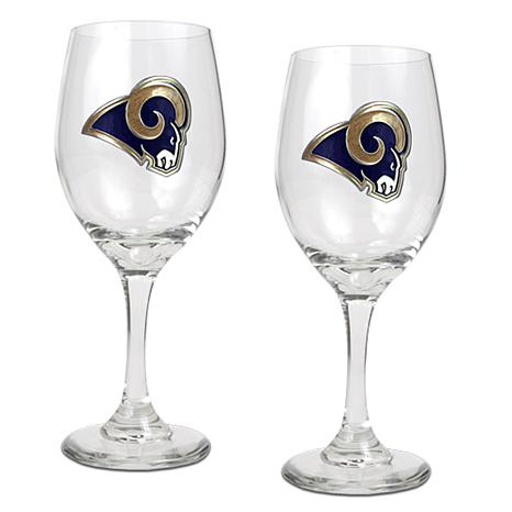 Officially Licensed NFL 2-piece Wine Glass Set-Rams