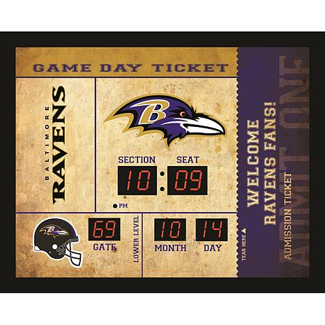 Officially Licensed NFL Bluetooth Scoreboard Wall Clock - Ravens