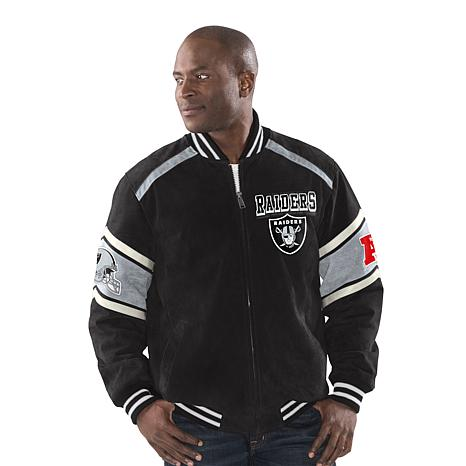 Discount Officially Licensed NFL Colorblocked Suede Jacket by Glll Raiders  hot sale