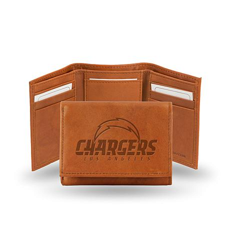 Officially Licensed NFL Embossed Leather Trifold - Chargers