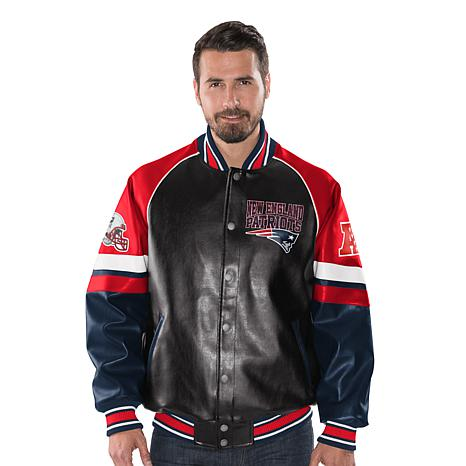 hot sale online dacca 7d72f Officially Licensed NFL Men's Faux Leather Varsity Jacket by Glll - Patriots