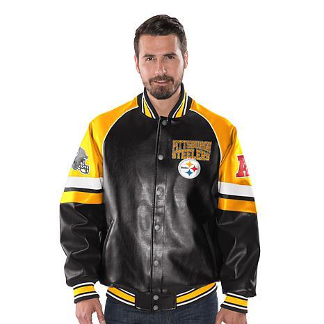 free shipping 989bb ada84 Officially Licensed NFL Men's Faux Leather Varsity Jacket by Glll - Steelers
