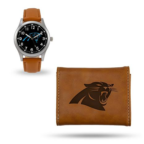 Officially Licensed NFL Trifold Wallet and Watch Gift Set in Brown