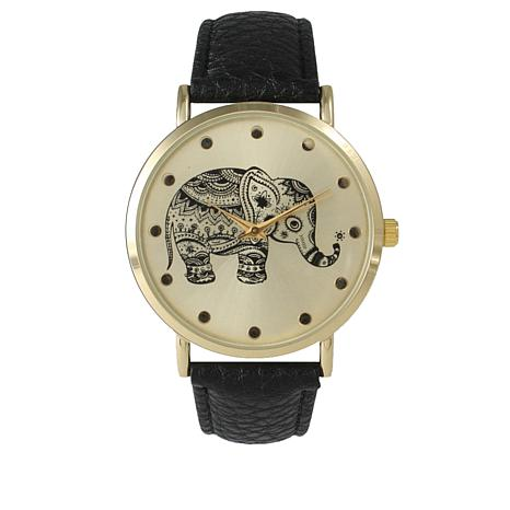 Olivia Pratt Elephant Black Faux Leather Strap Watch
