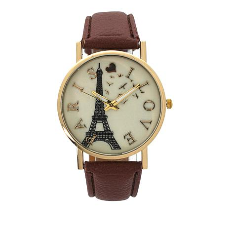 Olivia Pratt Goldtone Paris Cognac Faux Leather Strap Watch
