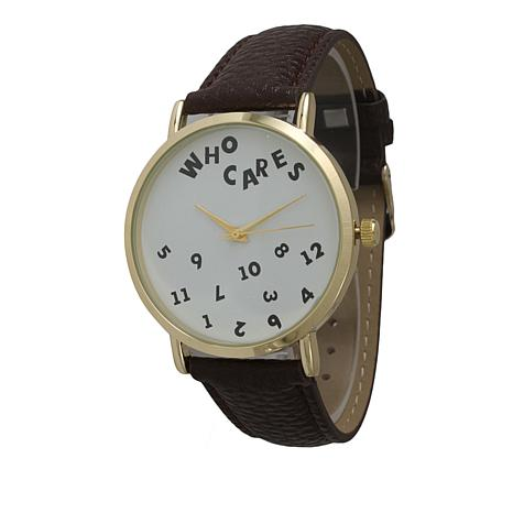"Olivia Pratt ""Who Cares"" Goldtone Dark Brown Faux Leather Strap Watch"