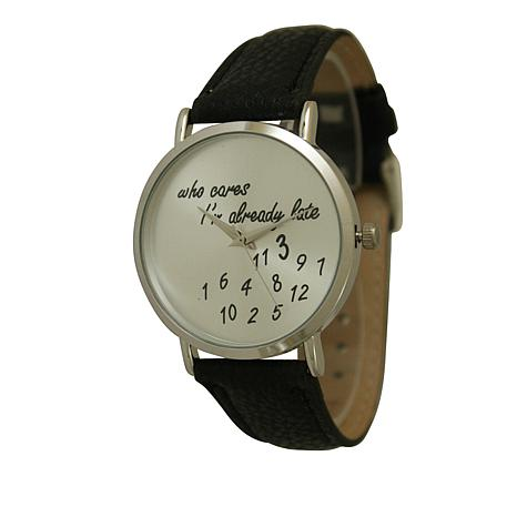 "Olivia Pratt ""Who Cares"" Silvertone Black Faux Leather Strap Watch"