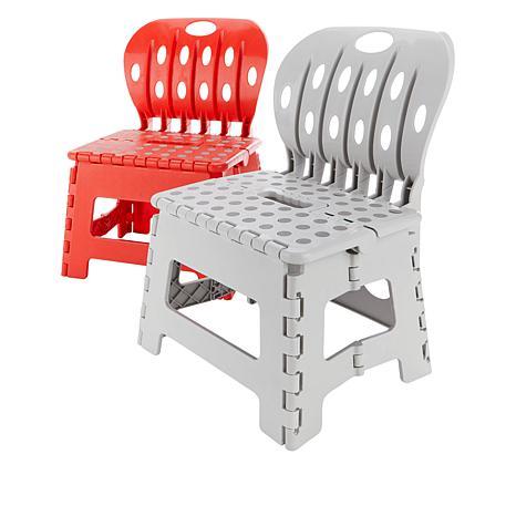 OrganizeMe 2-pack Folding Chair Step Stools
