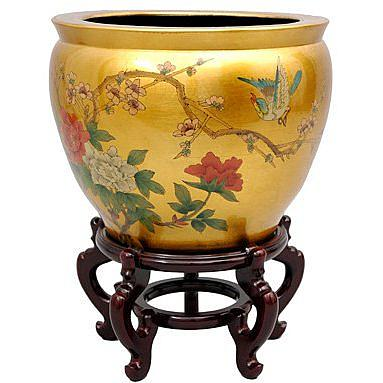 Oriental Furniture 16 Quot Gold Leaf Birds And Flowers
