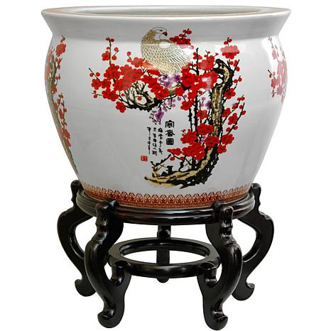Oriental Furniture Cherry Blossom Porcelain Fishbowl