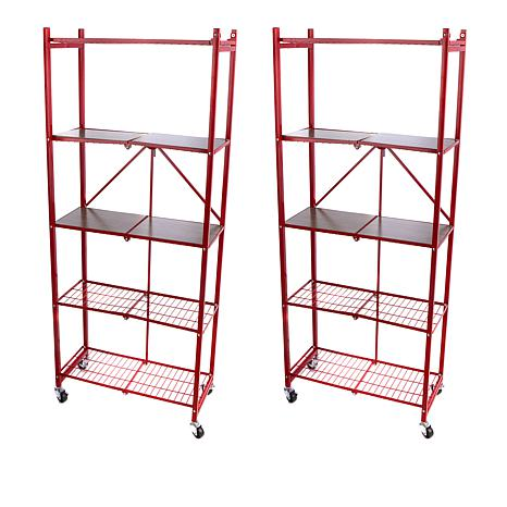 Origami 2 Pack Of 5 Tier Pantry Racks With Wooden Shelves 8595883 Hsn