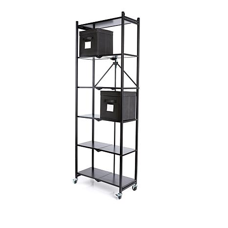 Origami 6-Tier Rack with Wooden Shelves and 2 Storage Bins