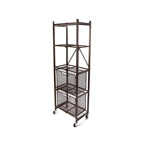 Origami Folding 2-Drawer Pantry Rack with Wheels