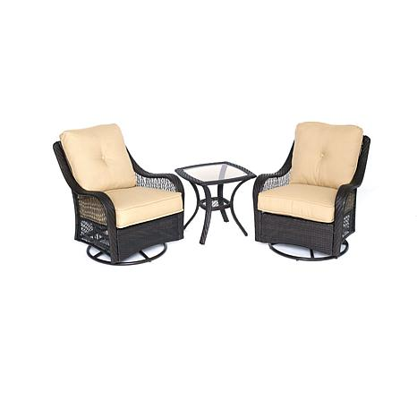 Orleans 3pc Swivel Rocking Chat Set - Sahara Sand