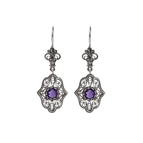 Ottoman Silver Gemstone Filigree Floral Drop Earrings